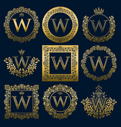 vintage monograms set of w letter vector image