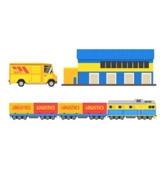 Warehouse Cargo Train And Bus vector