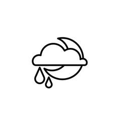 web icon moon clouds and rain night rain vector image