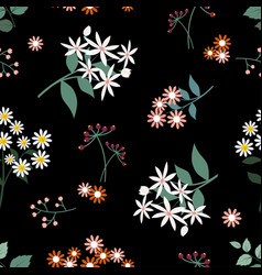 wild flower seamless pattern on dark background vector image