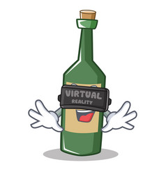 with virtual reality wine bottle character cartoon vector image
