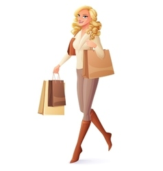 Beautiful lady walking with shopping bags and vector image vector image