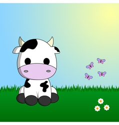 Cute cow sitting in grass vector image vector image