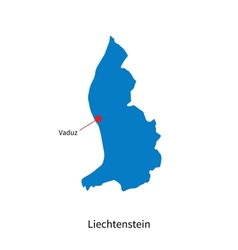 Detailed map of Liechtenstein and capital city vector image vector image