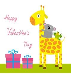 Happy Valentines Day Love card Cute giraffe koala vector image vector image