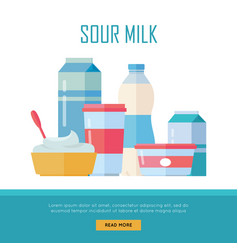 set of traditional dairy products from sour milk vector image vector image