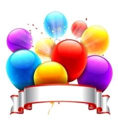 Color Balloons and Ribbon vector image