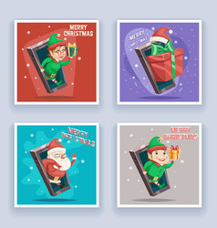 cute santa claus with gift bag elf male female vector image