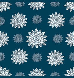 monochrome doodle ethnic flowers seamless pattern vector image vector image