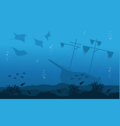 silhouette of big ship stingray underwater vector image