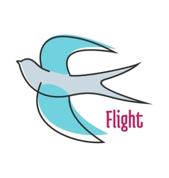Flying blue swallow in outline style vector image