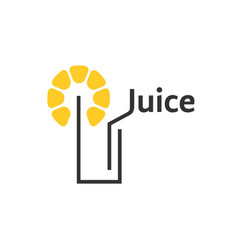juice icon with abstract glass vector image vector image