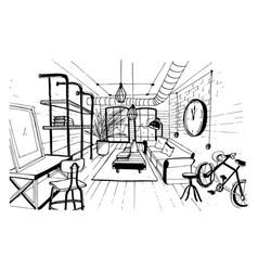 modern living room interior in loft style hand vector image
