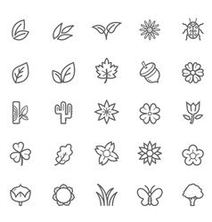 Set of Outline Stroke Natural Icons vector image vector image