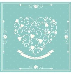 Wedding invitation with decorative heart vector image