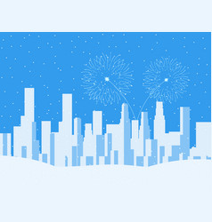 winter cityscape urban city with skyscrapers vector image vector image