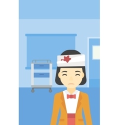 Woman with injured head vector image vector image