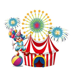 A carnival with a clown holding balloons vector image vector image