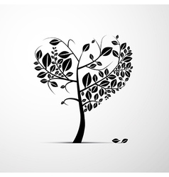 Abstract Heart Shaped Tree on Grey Background vector image vector image