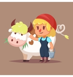 Cute catroon girl with cow vector image vector image