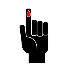 finger with blood drop on white background vector image vector image