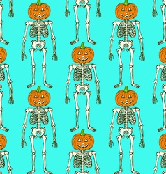 Sketch skeleton with curved pumpkin head vector image vector image