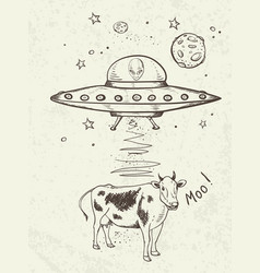 Ufo abducts a cow vector