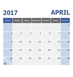 2017 April calendar week starts on Sunday vector image