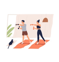 Active couple doing exercise with dumbbells vector