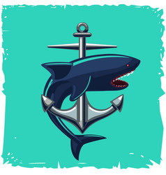 anchor and shark isolated cartoon vector image