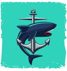 Anchor and shark isolated cartoon vector