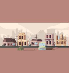 Apocalypse damaged city urban landscape with vector