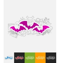 Bat paper sticker with hand drawn elements vector