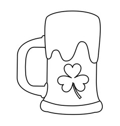 Beer glass foam and clover outline vector