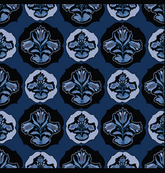 Blue folklore floral vector