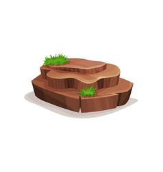 Brown rock stone with green grass design element vector
