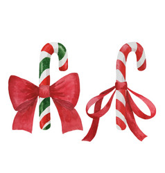 candy cane with bows vector image