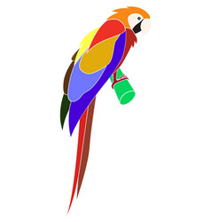 cartoon animal - parrot - flat coloring style vector image