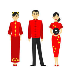 cartoon color characters people chinese man and vector image