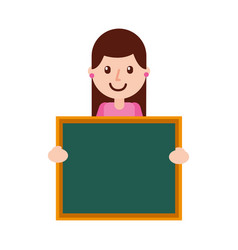 character teacher holding board class element vector image