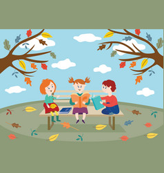 cheerful children friends sitting on bench in vector image