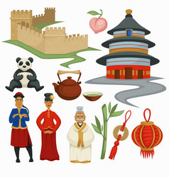 China symbols culture and architecture food vector