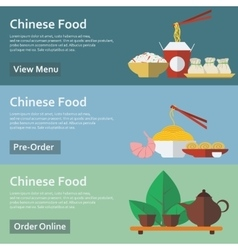 Chinese food Web banners in flat style vector image