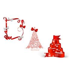 Christmas tree and ribbon vector