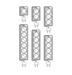 Collection electrical extension cords vector