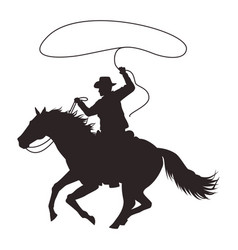 Cowboy figure silhouette in horse lassoing vector
