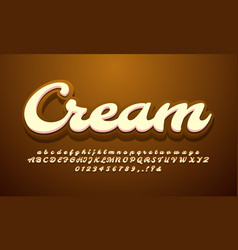 Cream chocolate 3d alphabet text effect or font vector