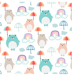 cute bear and umbrella pattern background for kids vector image
