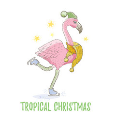 cute christmas exotic animal art flamingo vector image