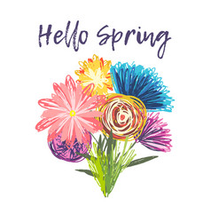 cute spring bouquet of childish hand drawn flowers vector image